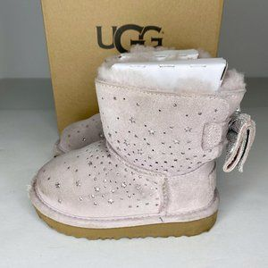 Uggs  pink with silver stars bow kids winter boots